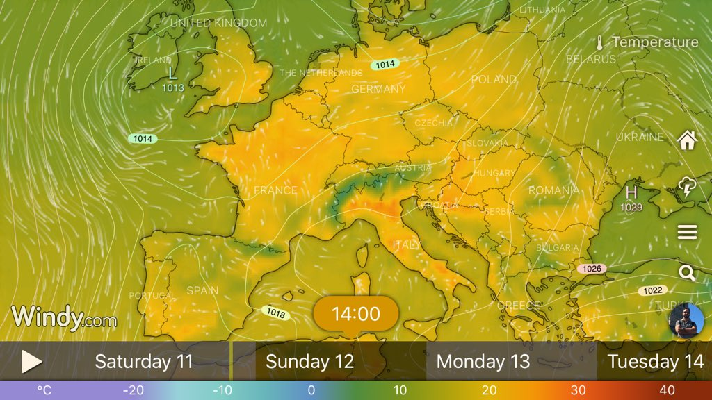 photo: Windy.com; desc: Easter's high temperatures; licence: cc