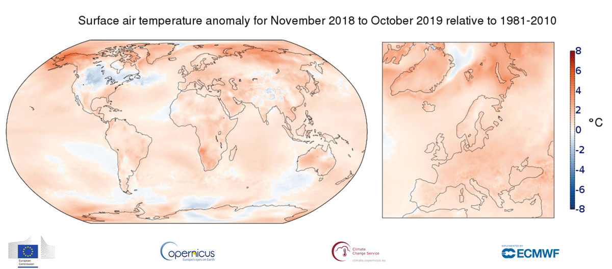 photo: Copernicus Climate Change Service/ECMWF;desc:Surface air temperature anomaly for November 2018 to October 2019 relative to the average for 1981-2010. Data source - ERA5.