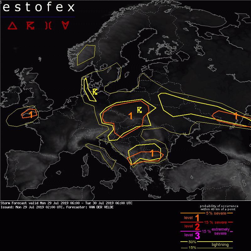 photo: ESTOFEX;desc: Storm Forecast valid Mon 29 Jul 2019 06:00 - Tue 30 Jul 2019 06:00 UTC.;