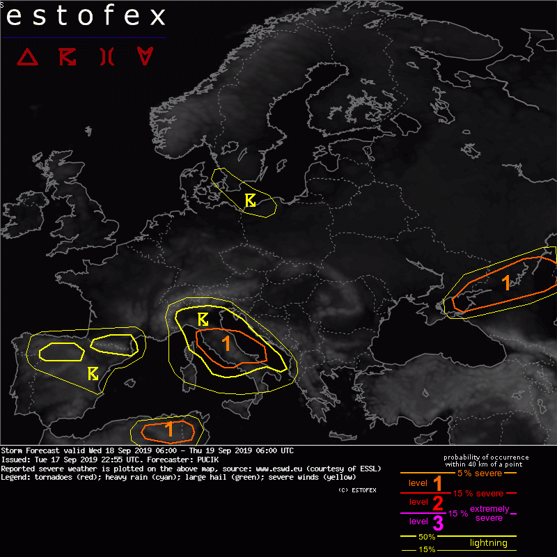 photo:Estofex;desc:Storm Forecast valid Wed 18 Sep 2019 06:00 - Thu 19 Sep 2019 06:00 UTC;