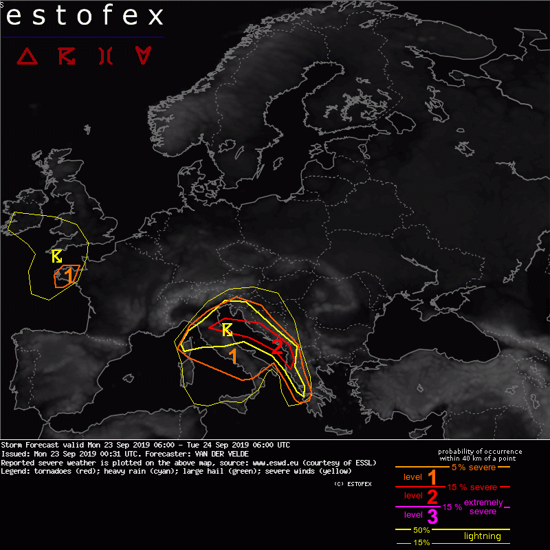 photo:Estofex;desc:Storm Forecast valid Mon 23 Sep 2019 06:00 - Tue 24 Sep 2019 06:00 UTC;
