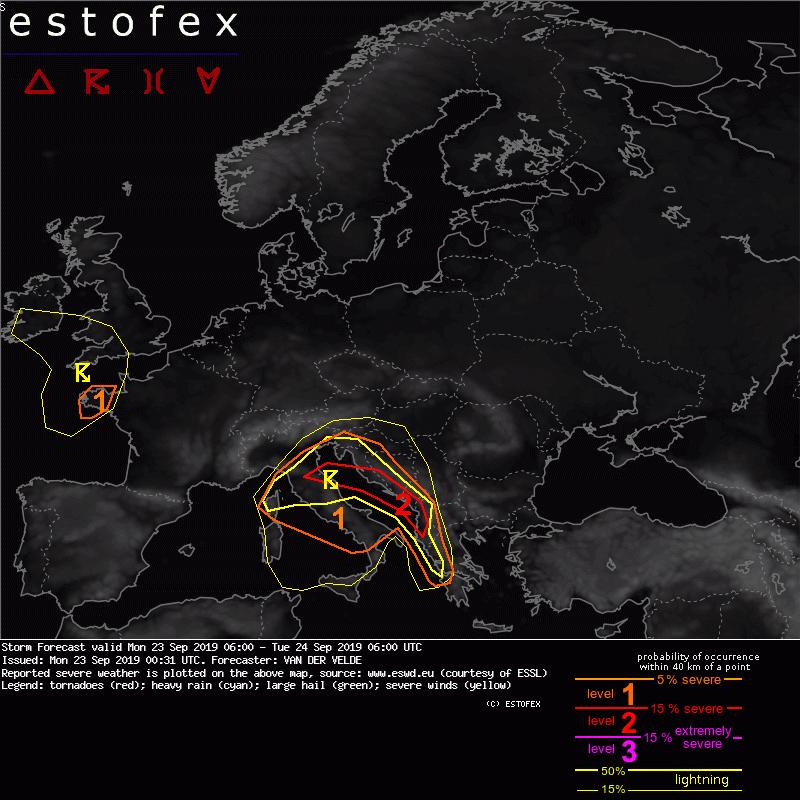 photo:Estofex;desc:Storm Forecast valid Mon 23 Sep 2019 06:00 - Tue 24 Sep 2019 06:00 UTC;