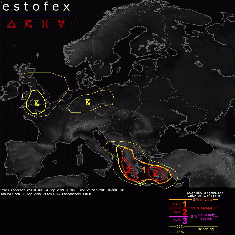 photo:Estofex;desc:Storm Forecast valid Tue 24 Sep 2019 06:00 - Wed 25 Sep 2019 06:00 UTC;