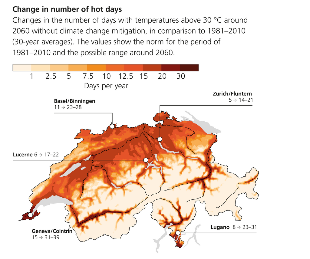 photo: Swiss NCCS;desc: Change in number of hot days.;