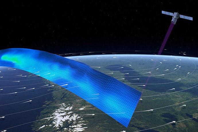 photo: ESA/ATG Medialab;desc: Aeolus satellite wind profile path