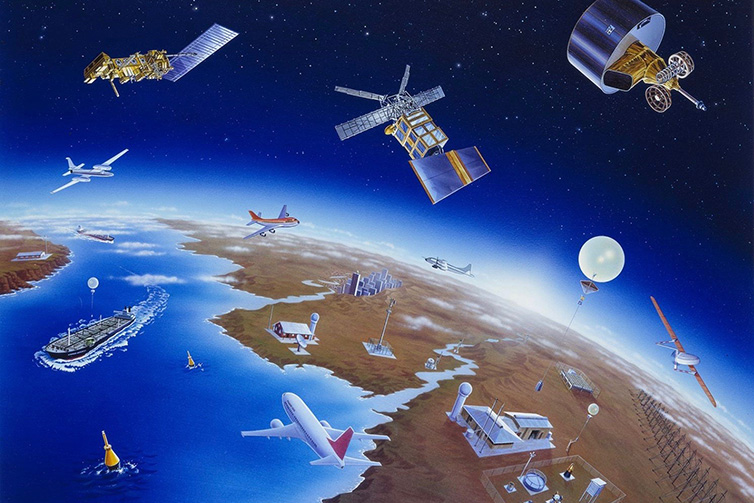photo: WMO;desc: Components of the global weather observing system;