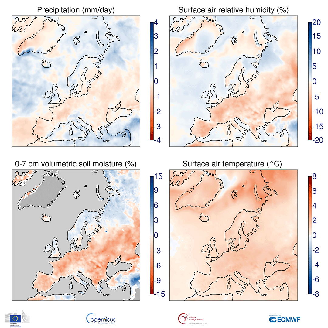 photo:Copernicus Climate Change Service/ECMWF;desc:Anomalies in precipitation, the relative humidity of surface air, the volumetric moisture content of the top 7 cm of soil and surface air temperature for November 2018 to October 2019 with respect to 1981-2010. The darker grey shading denotes where soil moisture is not shown due to ice cover or climatologically low precipitation. Data source - ERA5