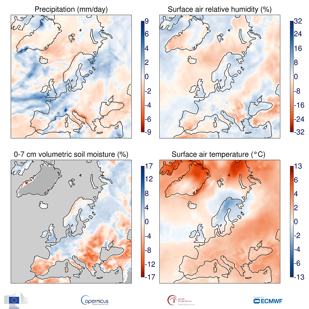 photo:Copernicus Climate Change Service/ECMWF;desc:Anomalies in precipitation, the relative humidity of surface air, the volumetric moisture content of the top 7 cm of soil and surface air temperature for October 2019 with respect to October averages for the period 1981-2010. The darker grey shading denotes where soil moisture is not shown due to ice cover or climatologically low precipitation. Data source - ERA5