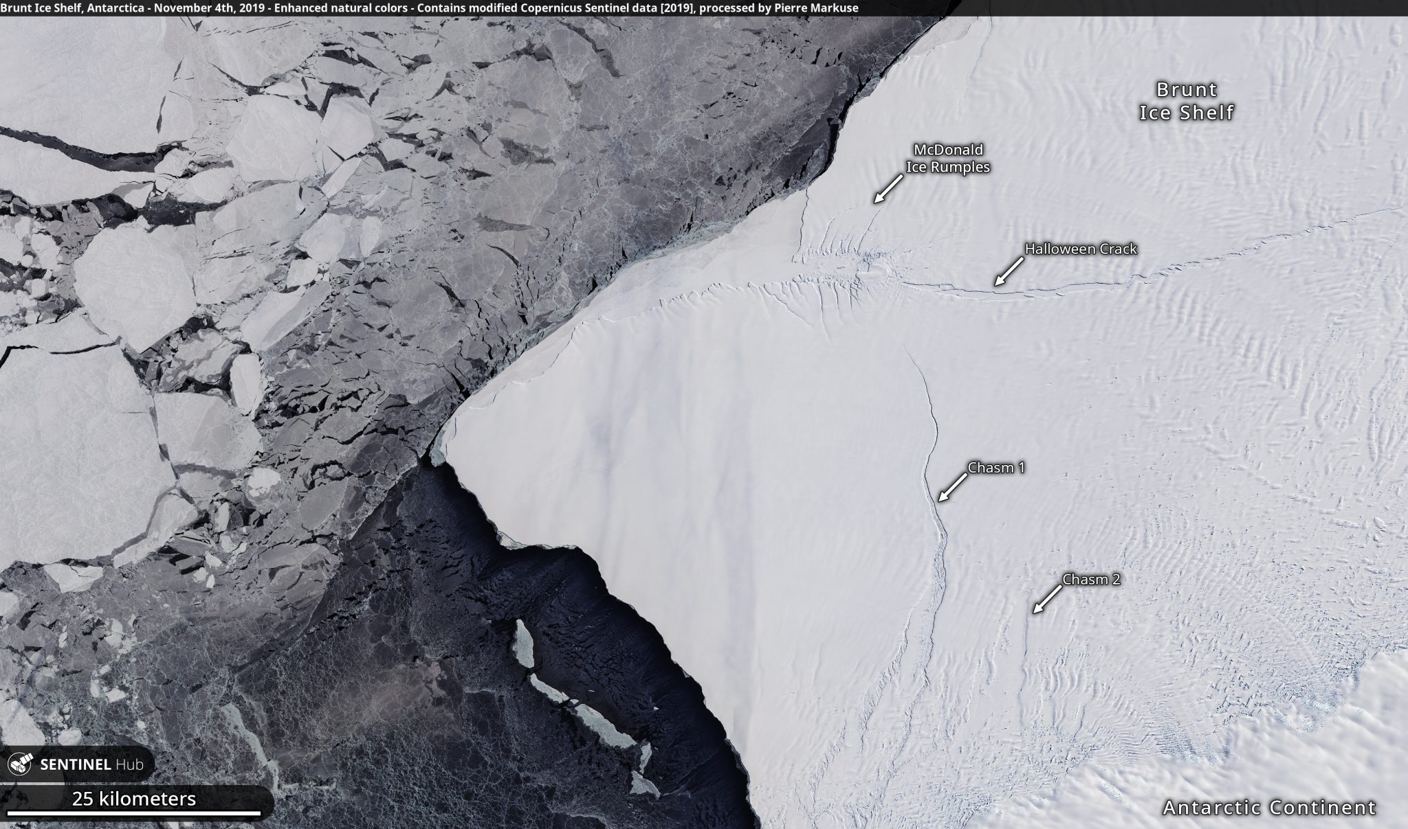 desc:Brunt Ice Shelf, Antarctica - November 4th, 2019 Copernicus/Pierre Markuse