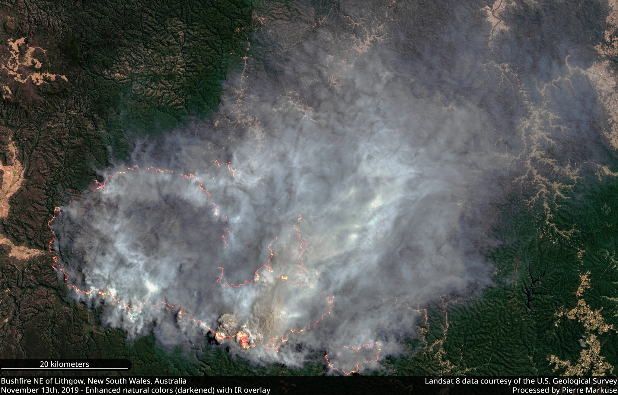 desc:Bushfire NW of Lithgow, New South Wales, Australia - November 13th, 2019 Copernicus/Pierre Markuse