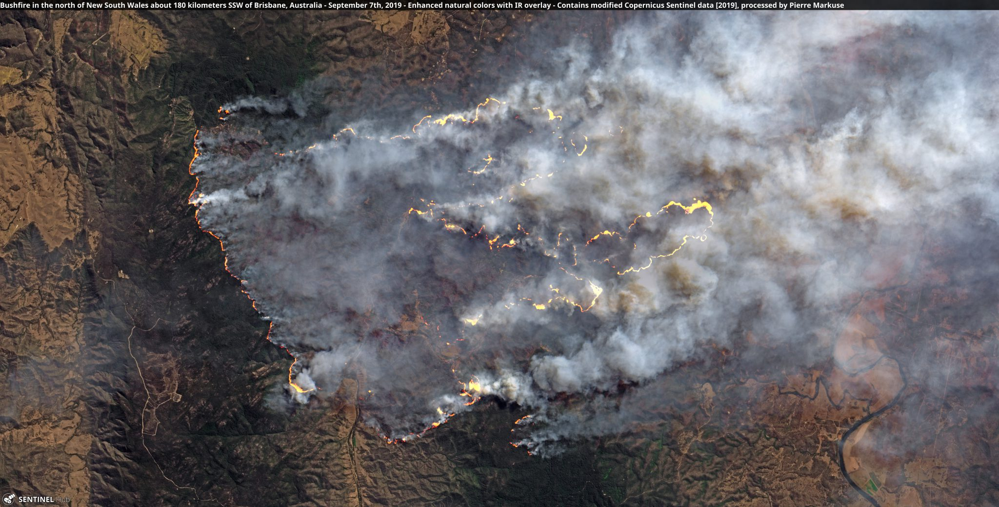 desc:Bushfire in the north of New South Wales about 180 kilometers SSW of Brisbane, Australia - September 7th, 2019 opernicus/Pierre Markuse