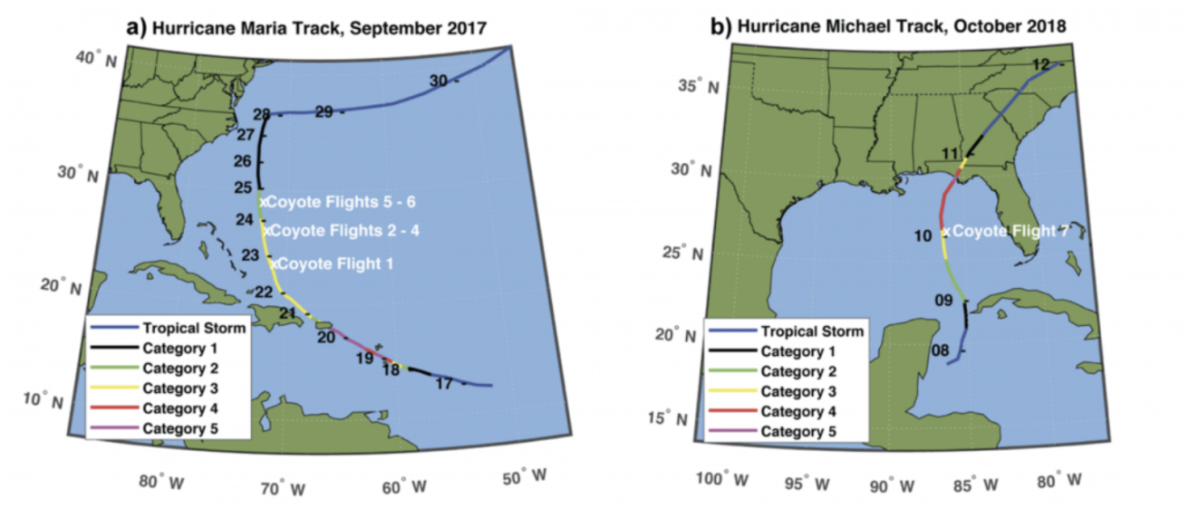 photo: NOAA;desc:A depiction of Coyote research flights into hurricanes (a) Maria in 2017 and (b) Michael in 2018 showing location of flight and storm intensity.