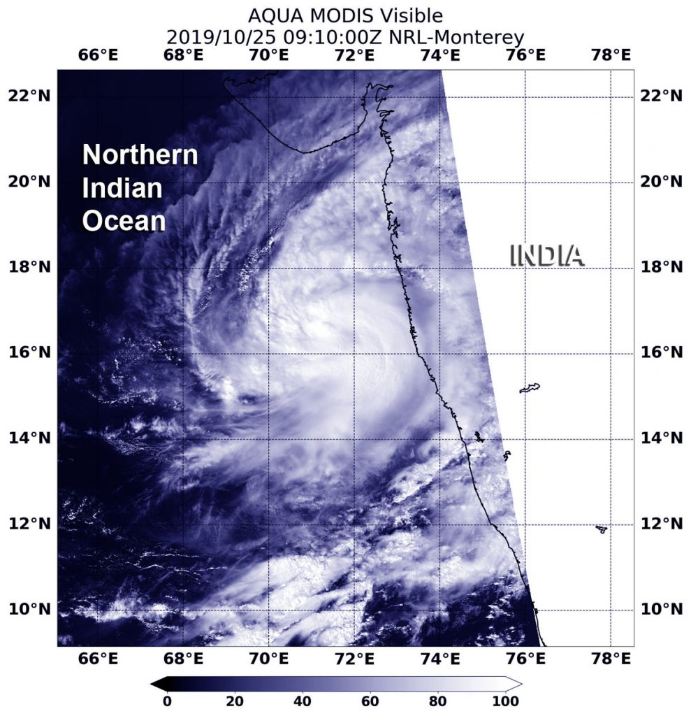 photo:NASA/NRL;desc:On Oct. 25 at 5.10 a.m. EDT (0910 UTC), the MODIS instrument that flies aboard NASA's Aqua satellite took this image of Tropical Storm Kyarr off the coast of southwestern India