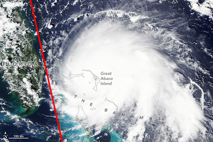 photo: NASA;desc: Hurricane Dorian in September 2019 with Aeolus path