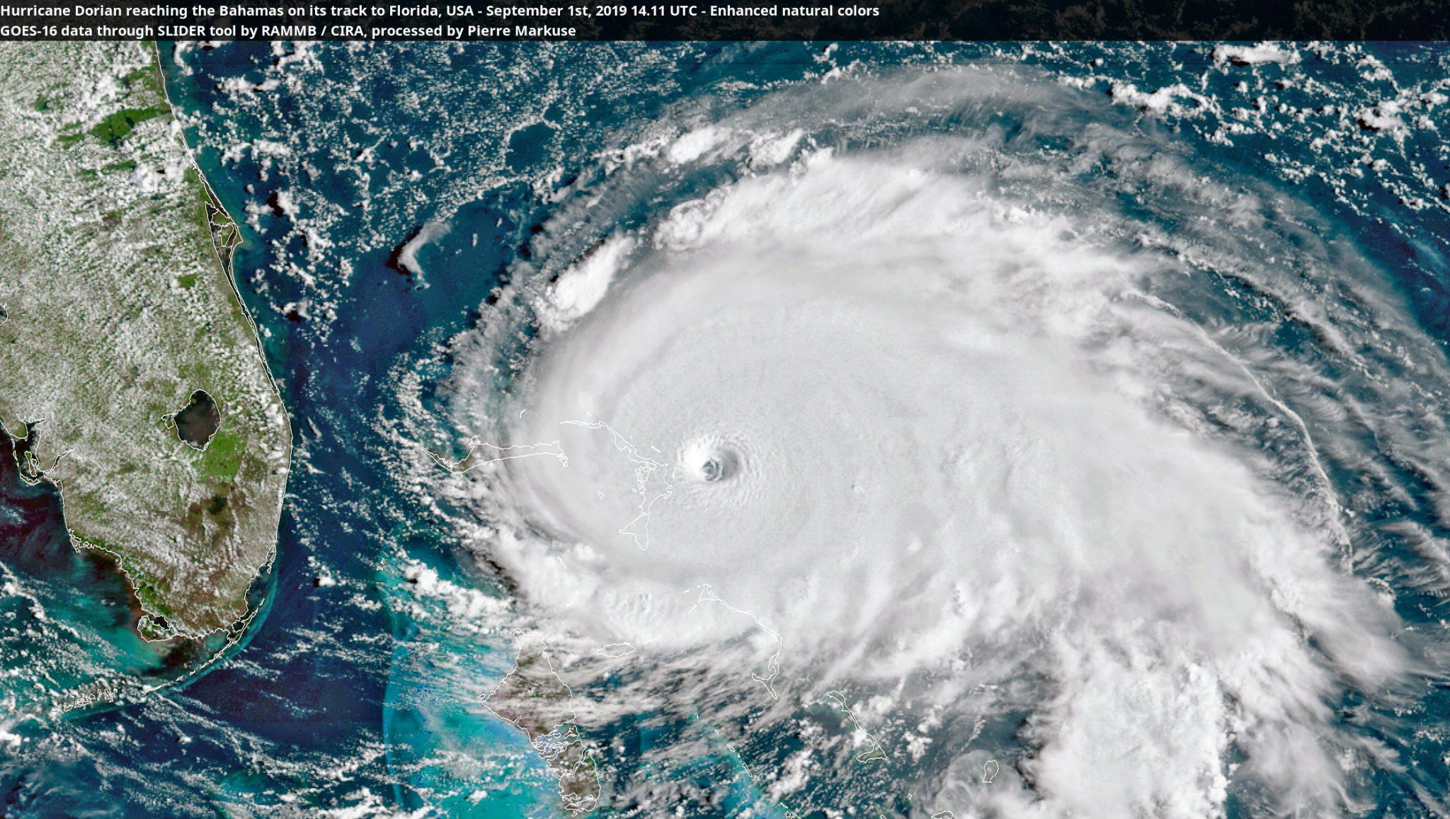 desc:Hurricane Dorian reaching the Bahamas on its track to Florida, USA - September 1st, 2019 14.11 UTC
