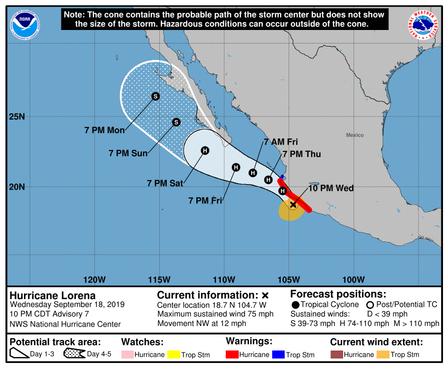 photo:NOAA/NHC;desc:Hurricane Lorena Cone (Adv. 7);