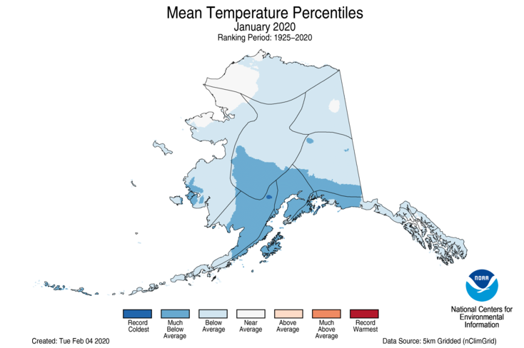 photo:NOAA;desc:January 2020 Alaska Average Temperature Percentiles Map