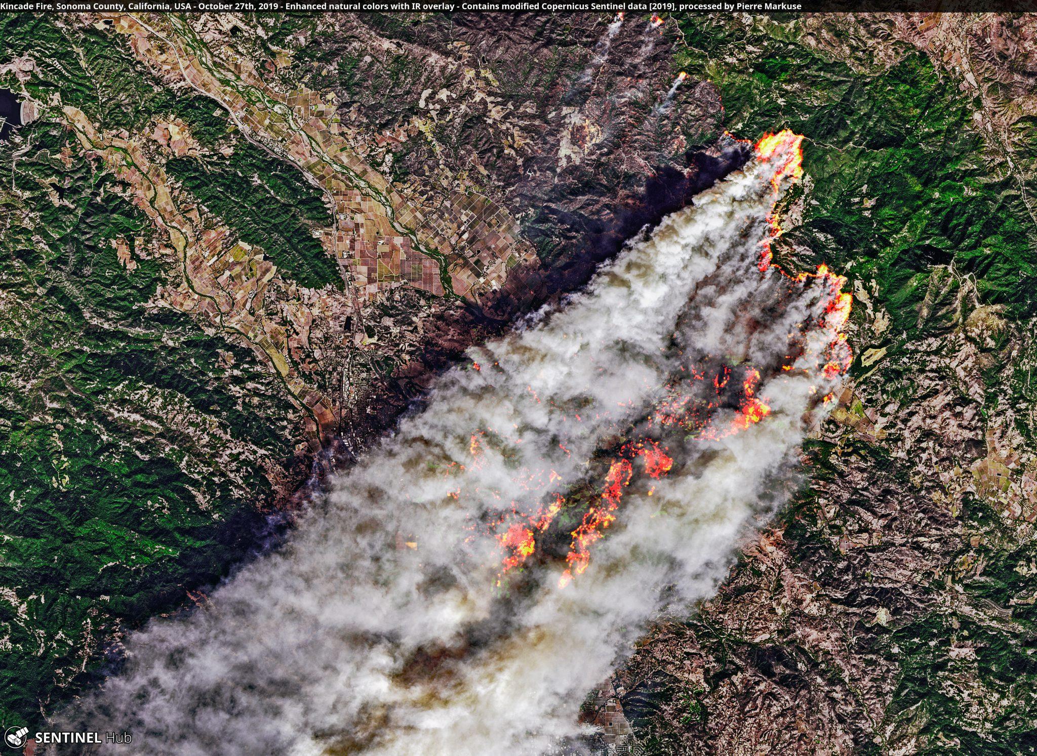 desc:Kincade Fire, Sonoma County, California, USA - October 27th, 2019 Copernicus/Pierre Markuse