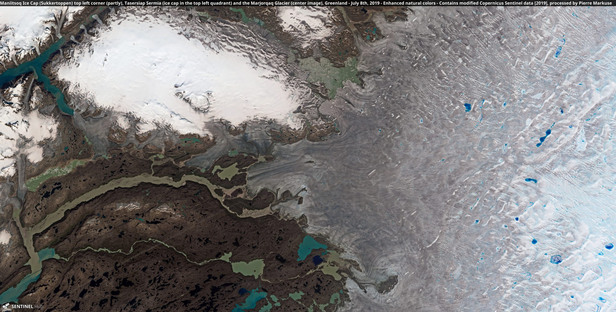 desc:Maniitsoq Ice Cap (Sukkertoppen) top left corner (partly), Tasersiap Sermia (ice cap in the top left quadrant) and the Marjorqaq Glacier (center image), Greenland Copernicus/Pierre Markuse