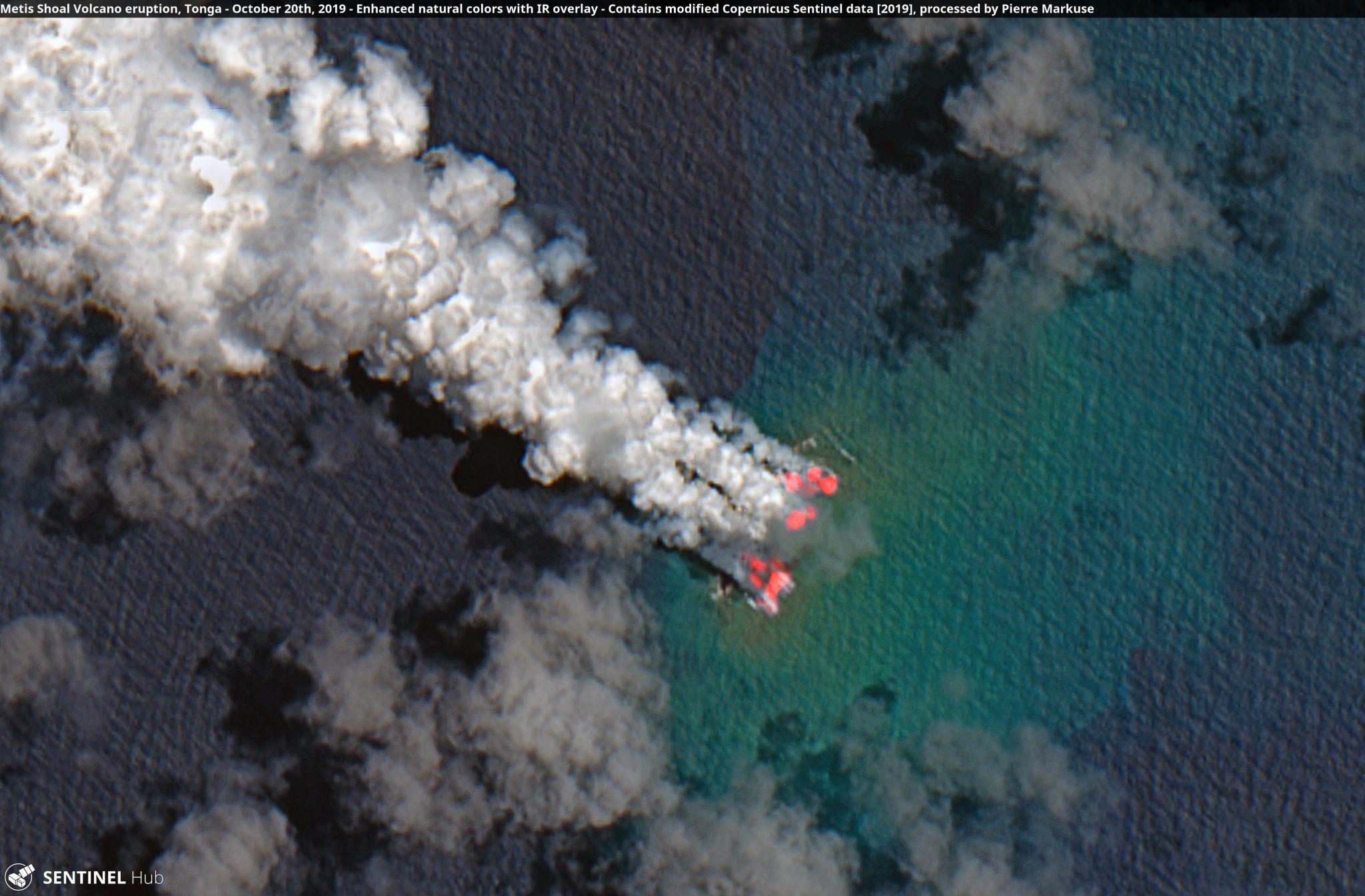 desc:Metis Shoal Volcano eruption, Tonga, with added IR overlay - October 20th, 2019 Copernicus/Pierre Markuse