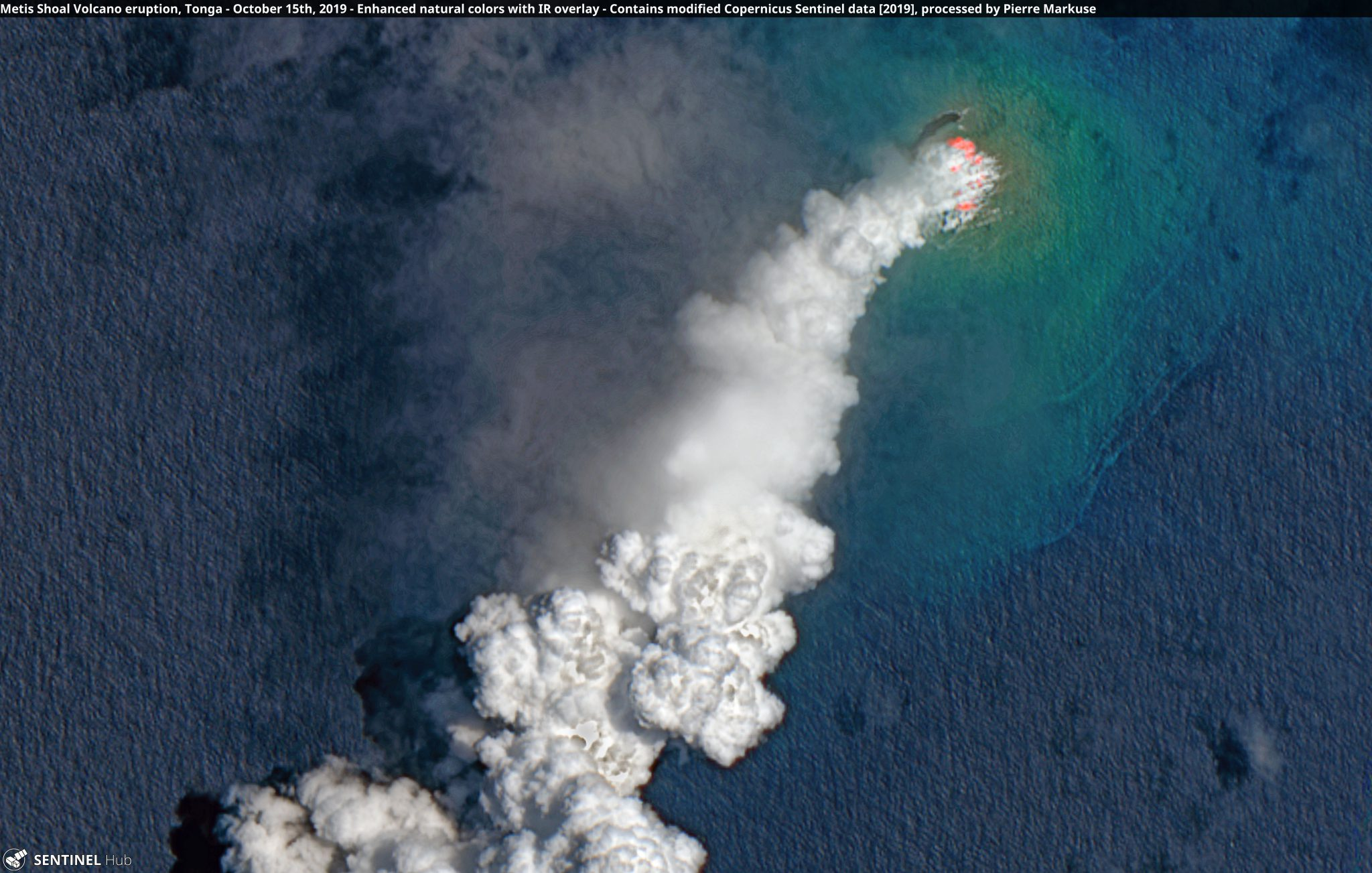 desc:Metis Shoal Volcano eruption, Tonga - October 15th, 2019 Copernicus/Pierre Markuse
