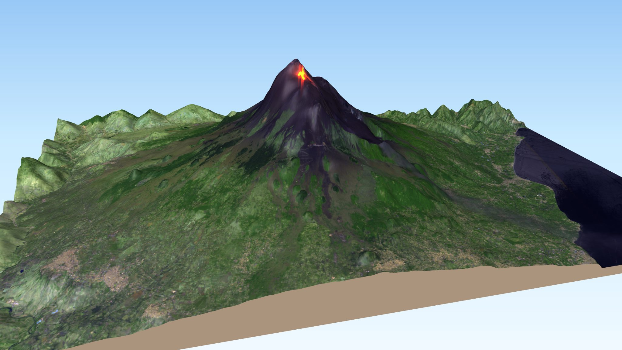 desc:Mount Etna Volcano 3D showing lava flows, based on a Sentinel-2 image from July 27th, 2019