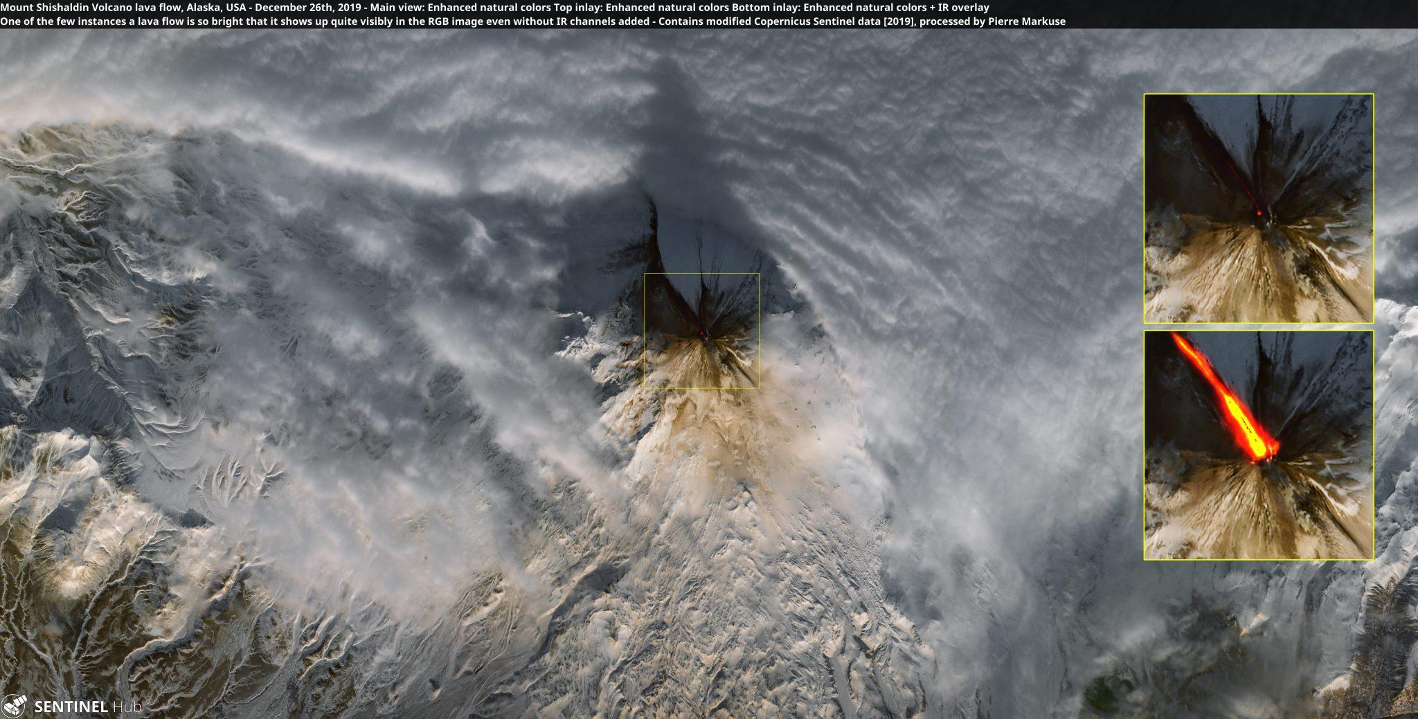 desc:Mount Shishaldin Volcano lava flow, Alaska, USA - December 26th, 2019 Copernicus/Pierre Markuse
