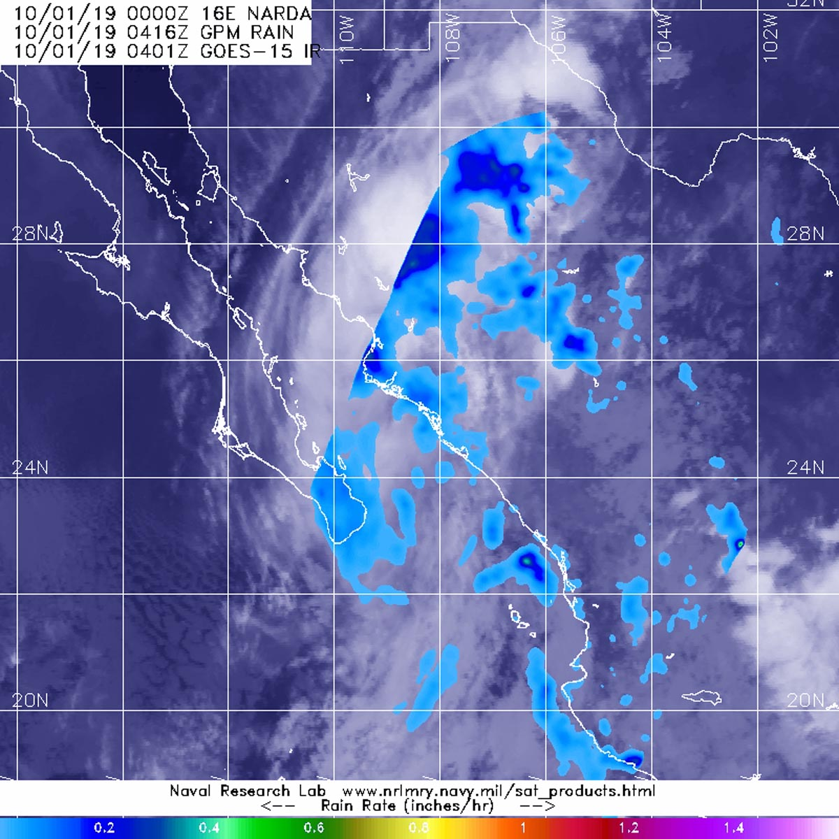 photo:NASA/NRL;desc:The GPM's core satellite passed over Narda's remnants on Oct. 1 at 12:16 a.m. EDT (0416 UTC). GPM found scattered light rain (light blue) from the remnant clouds falling at around 0.2 inches (5 millimeters) per hour. NOAA's GOES-West satellite provided the cloud imagery.