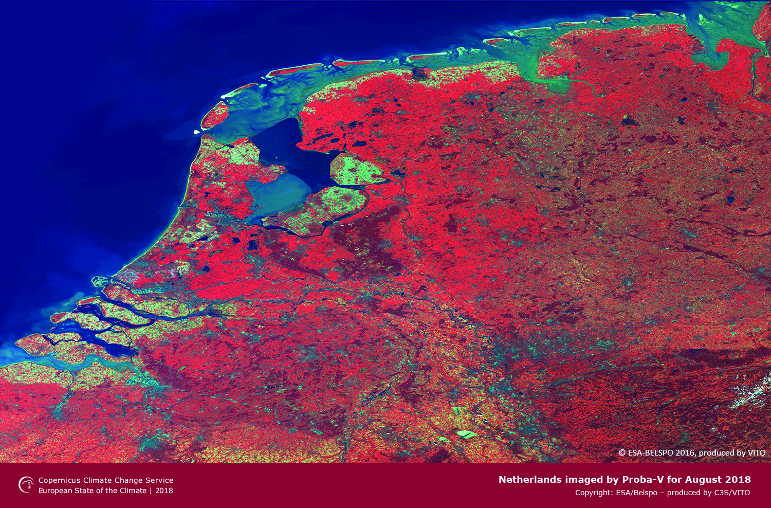 photo: ESA/Bespo;desc: Netherlands imaged by Proba-V for August 2018.