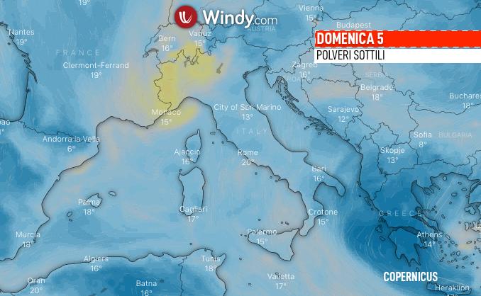 Photo: Windy.com; desc: Le polveri sottili sull'Italia; licence: cc