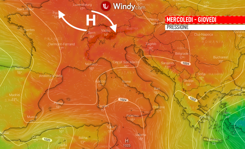 Photo: Windy.com; pressione 8-9 aprile sull'Italia; licence: cc