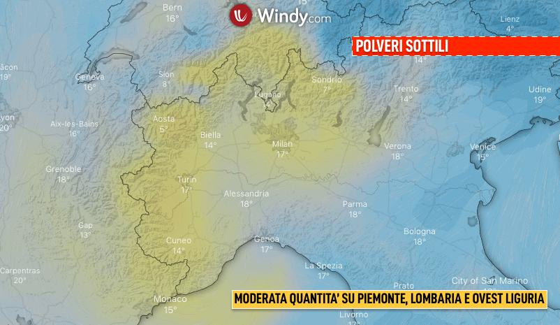 Photo: Windy.com; desc: Polveri sottili su Lombardia, Piemonte e Ovest Liguria; licence: cc
