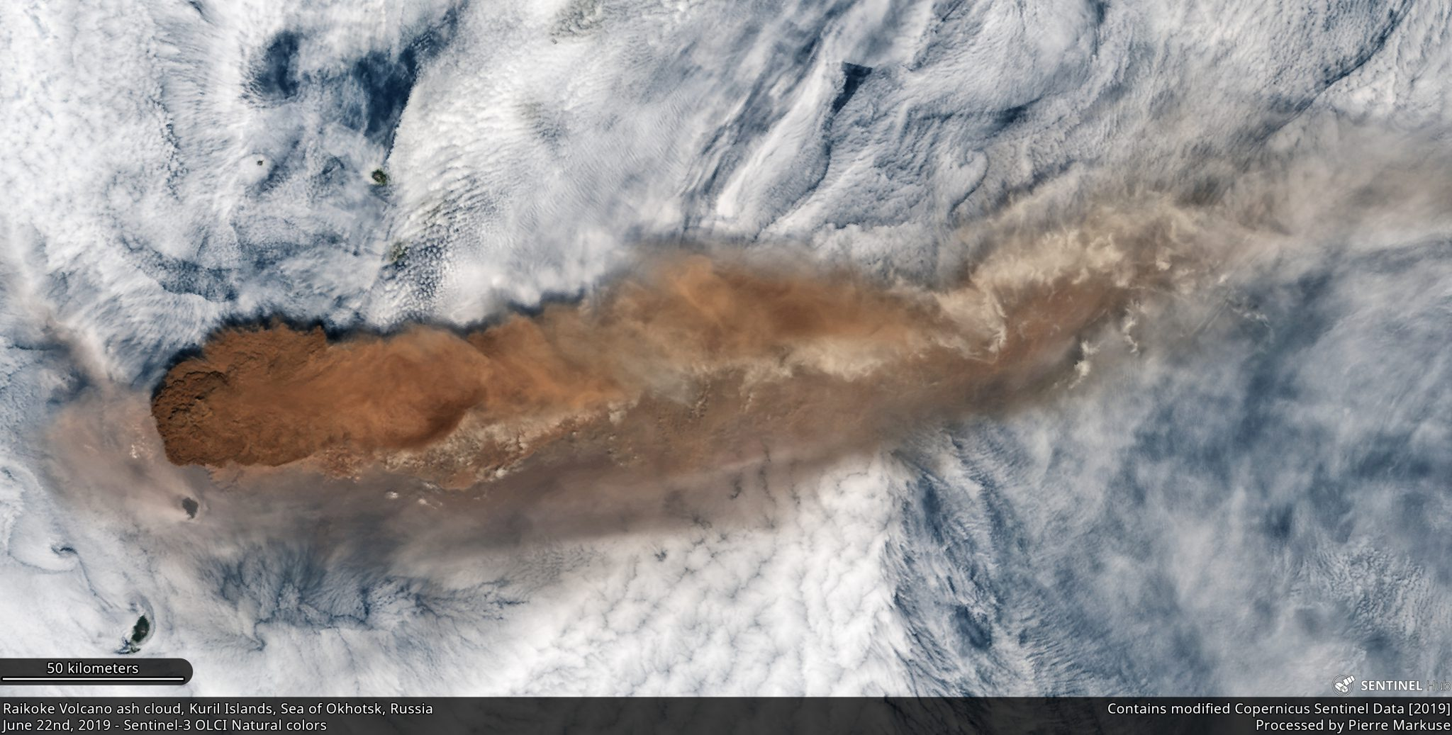 desc:Raikoke Volcano ash cloud, Kuril Islands, Sea of Okhotsk, Russia Copernicus/Pierre Markuse