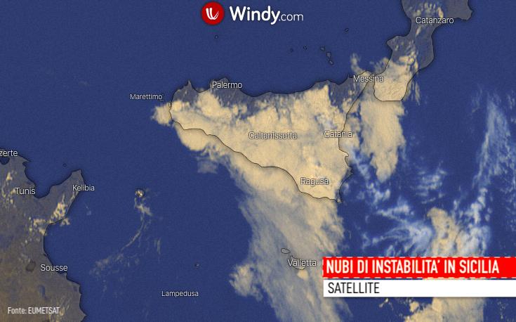 Photo: Windy.com; nubi di instabilità sulla Sicilia; licence: cc