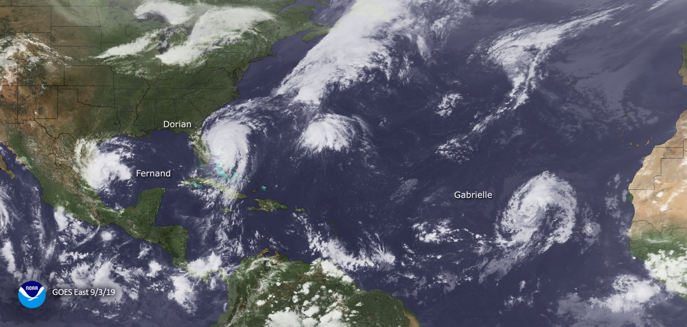 photo:NOAA Satellites;desc:GOES-East satellite captured these three hurricanes in the Gulf and Atlantic waters on September 3, 2019: From left to right we have Fernand, Dorian and Gabrielle. The season tallied 18 named storms, ending with Sebastien.
