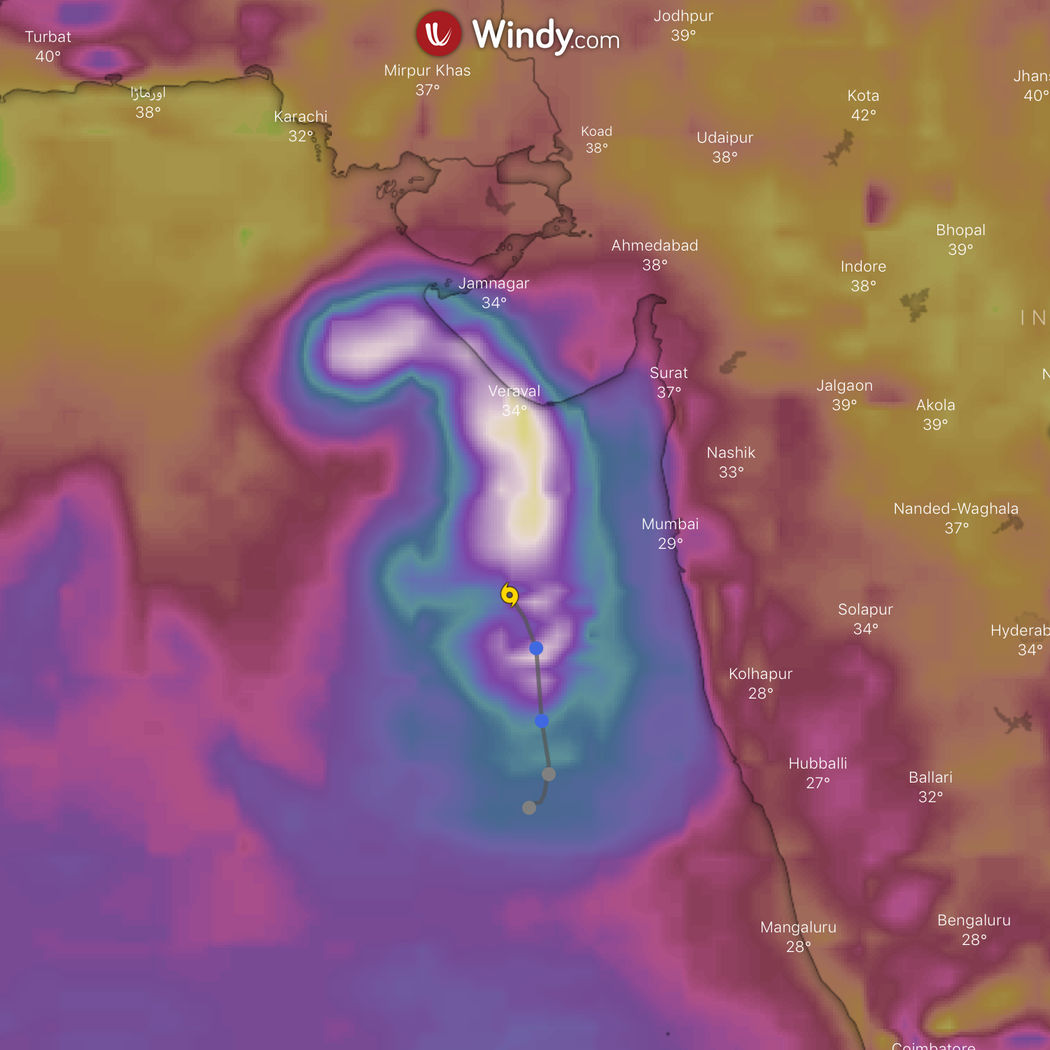 photo: Windy;desc: Actual position of Tropical Cyclone Vayu.;licence:cc;