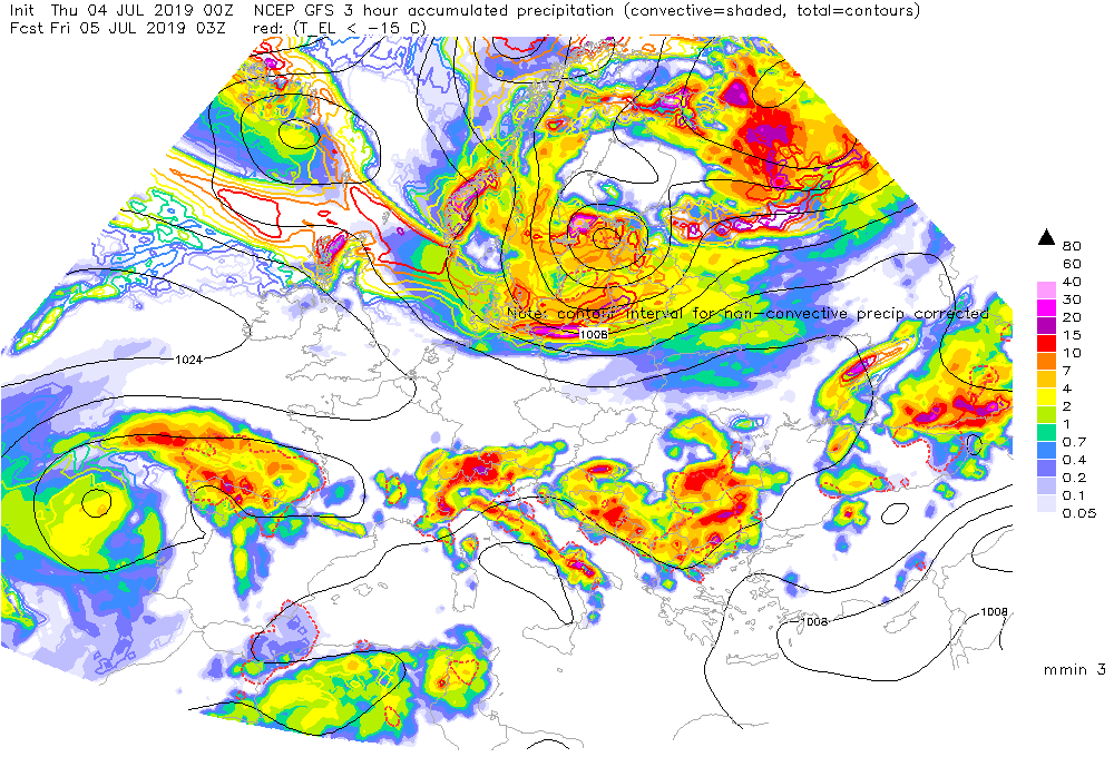 photo: ESTOFEX;desc: NCEP GFS 3 hour accumulated precipitation;