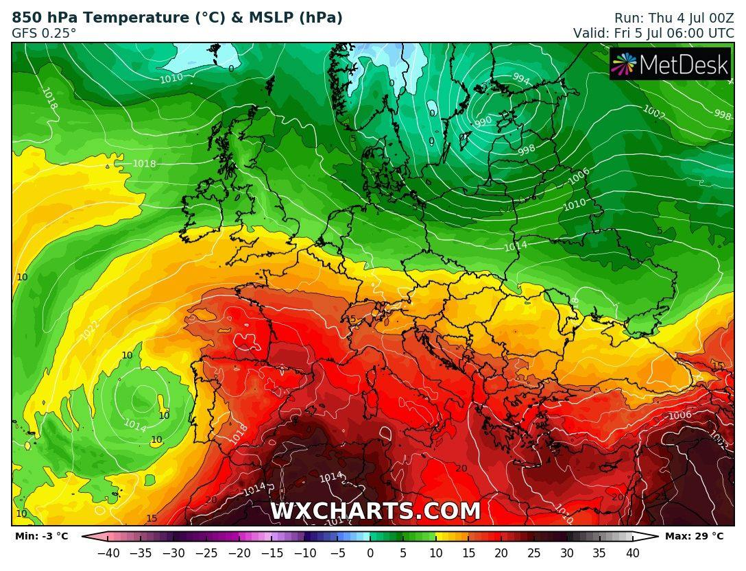 photo: wxcharts.com;desc: 850 hPa Temperature & MSLP;