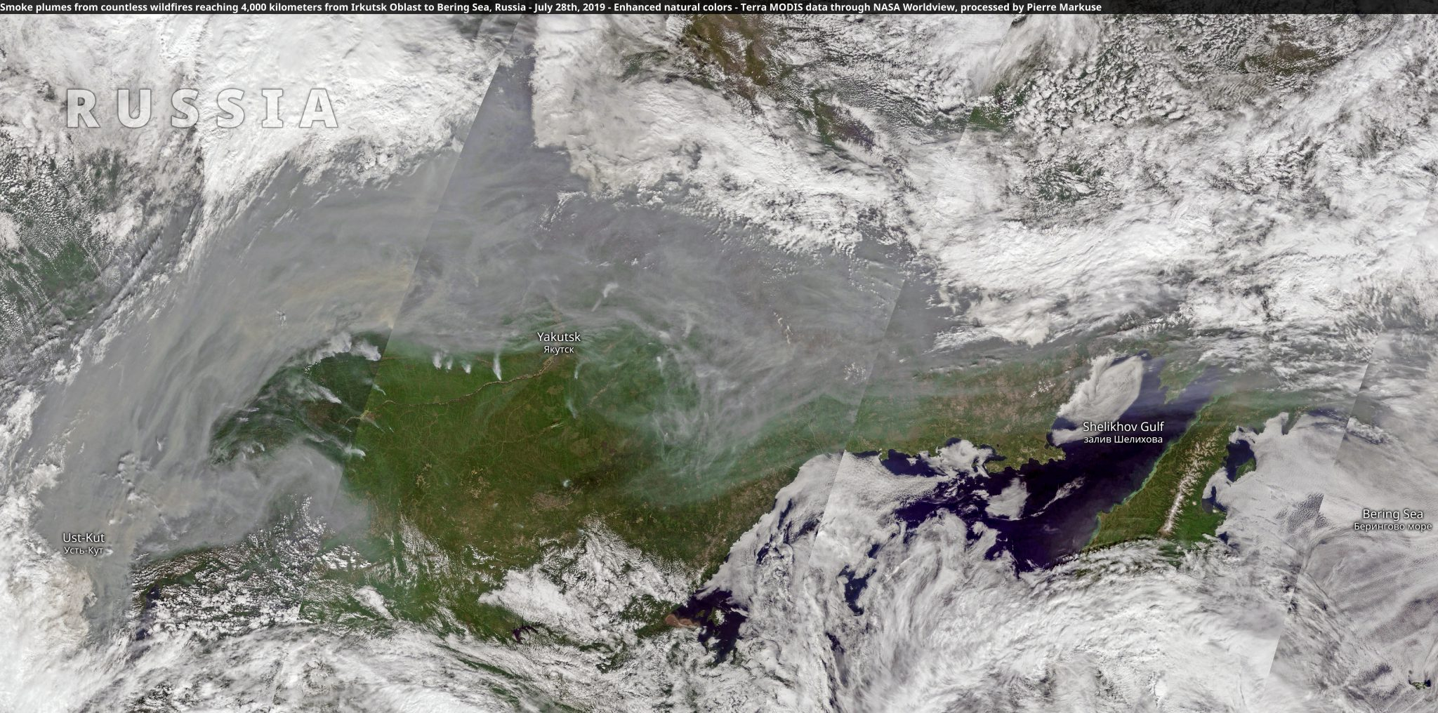 desc:Smoke plumes from countless wildfires reaching 4,000 kilometers from Irkutsk Oblast to Bering Sea, Russia
