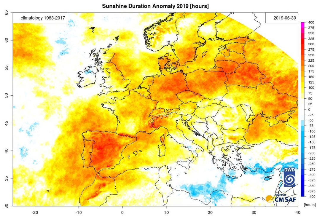 photo:CM SAF; desc:This plot shows the anomaly of sunshine duration compared to the climatology (1983-2017) from the CM SAF Surface Radiation Data Set – Heliosat (SARAH) 2.1 data record and is the sunniest first half of the year since 1983 for the shown area (followed by 2007 and 2012)