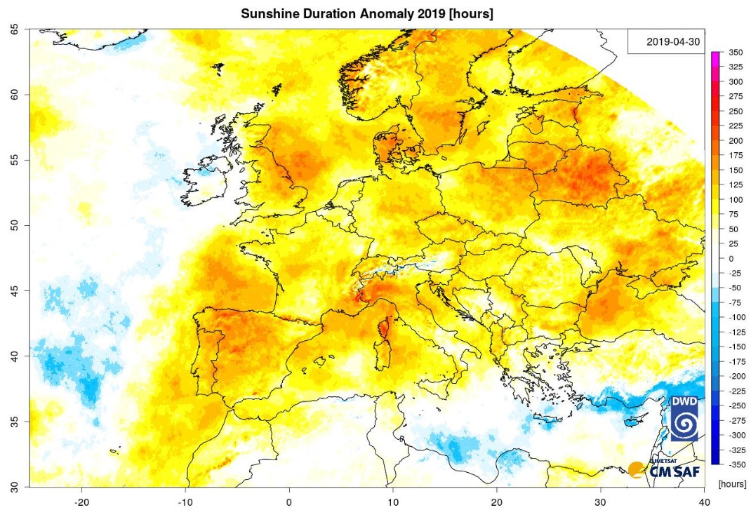 photo:CM SAF; desc: More hours of sunshine during the first four months of 2019 than the average of 1983-2017 almost everywhere in Europe. Also, highest regional sunshine duration during January-April, together with 2007