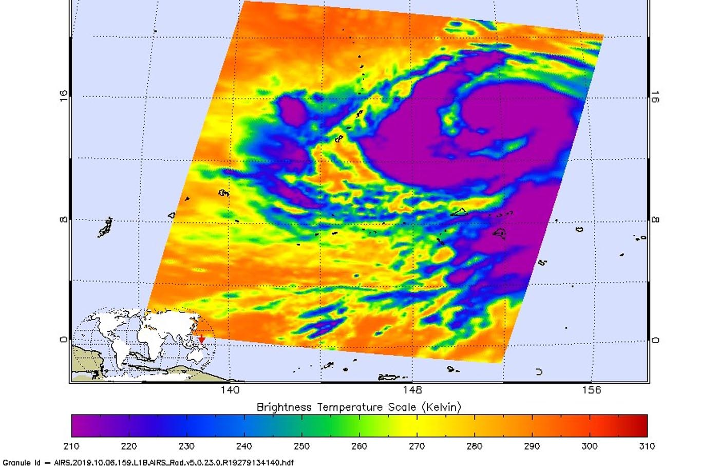 photo:NASA JPL/Heidar Thrastarson;desc: On Oct 6 at 3:53 p.m. EDT (1553 UTC) NASA's Aqua satellite analyzed Hagibis when it was a tropical storm using the Atmospheric Infrared Sounder or AIRS instrument. AIRS found coldest cloud top temperatures as cold as or colder than (purple) minus 63 degrees Fahrenheit (minus 53 degrees Celsius) around the center and in a thick band of thunderstorms east and west of center.