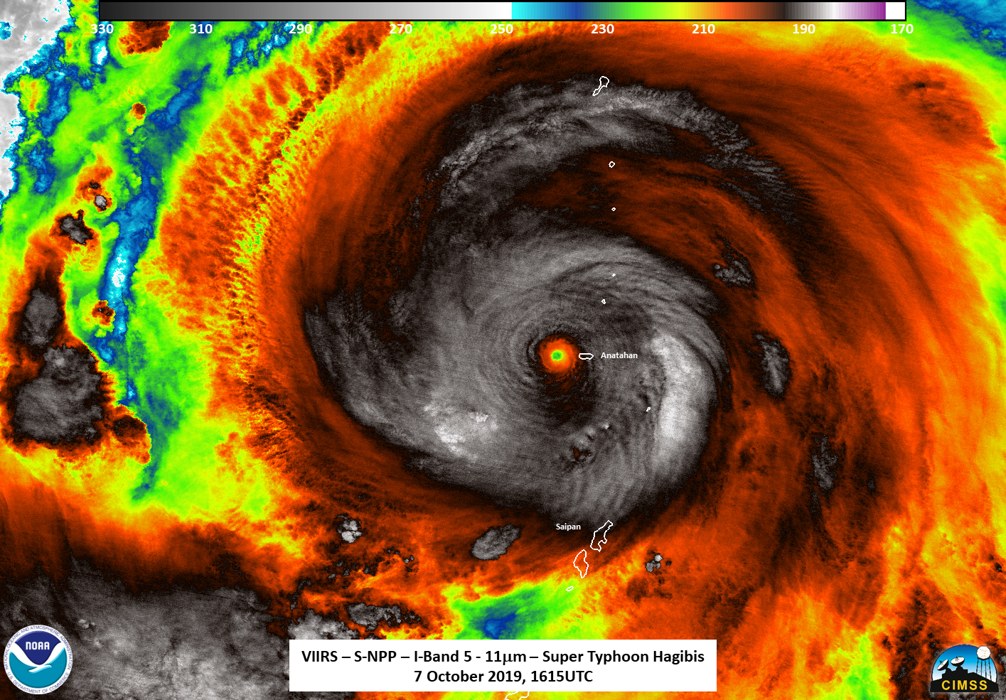 photo:NASA/NOAA/UWM-CIMSS, William Straka III;desc: NASA-NOAA's Suomi NPP satellite passed over Supertyphoon Hagibis and the VIIRS instrument aboard captured this image of the storm on Oct. 7 at 12.15 pm. EDT (1615 UTC). Suomi NPP found strongest thunderstorms around the center had cloud top temperatures as cold as 190 Kelvin (gray) or minus 117 degrees Fahrenheit (minus 83.1 Celsius)