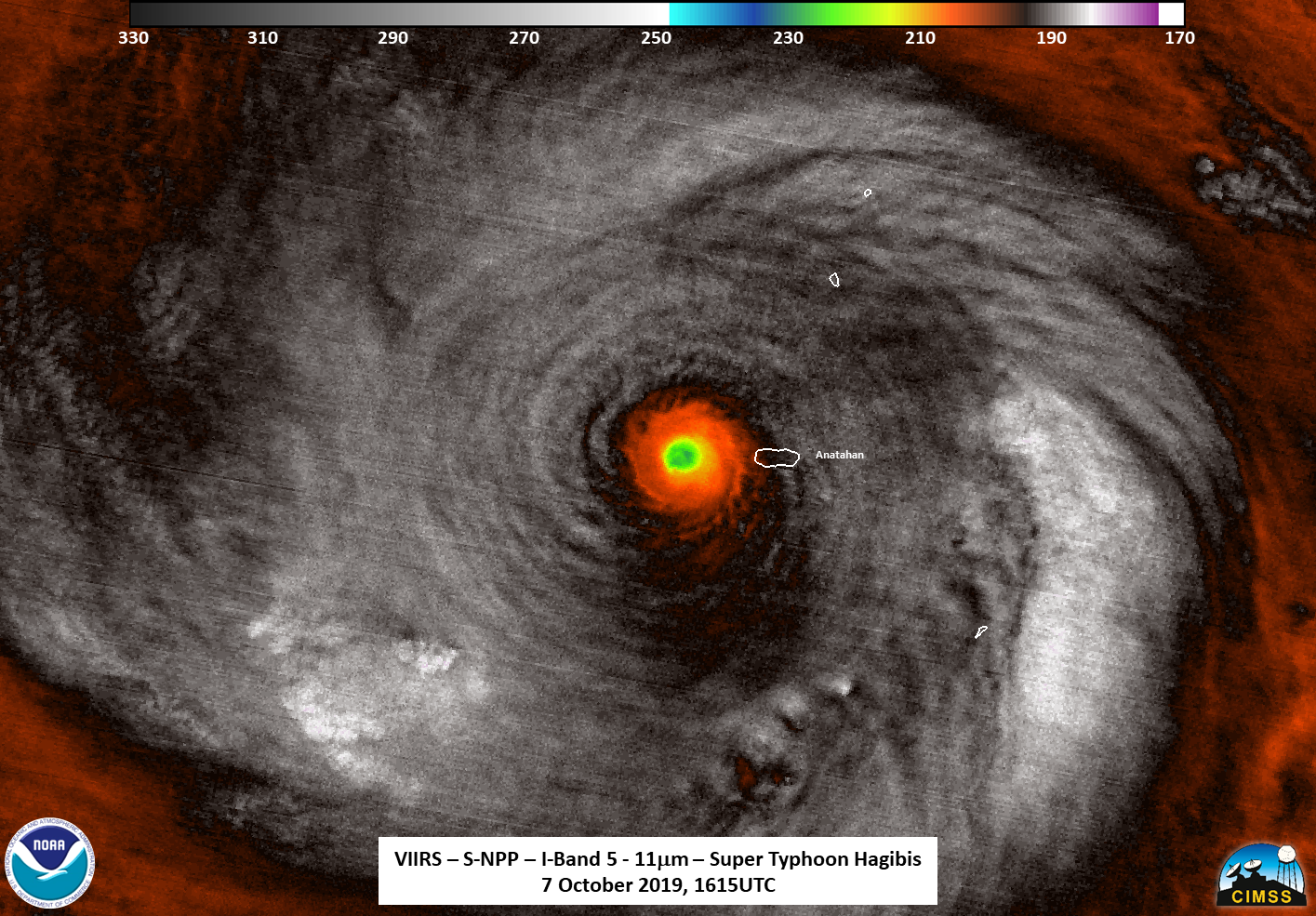 photo:NASA/NOAA/UWM-CIMSS, William Straka III;desc: NASA-NOAA's Suomi NPP satellite passed over Supertyphoon Hagibis and the VIIRS instrument aboard captured this close up image of the storm on Oct. 7 at 12:15 pm. EDT (1615 UTC). Suomi NPP found strongest thunderstorms around the center had cloud top temperatures as cold as 190 Kelvin (gray) or minus 117 degrees Fahrenheit (minus 83.1 Celsius)