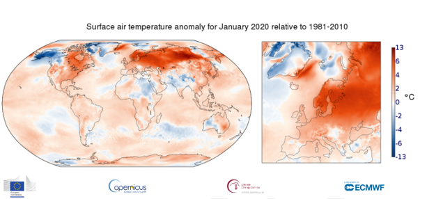 photo: Copernicus Climate Change Service (C3S)/ECMWF;desc: Surface air temperature anomaly for January 2020;