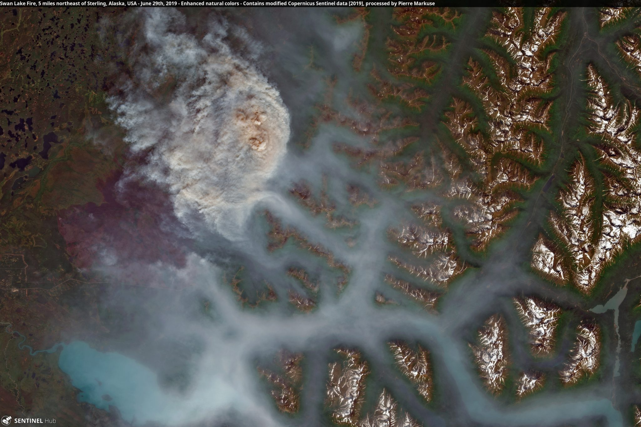 desc:Swan Lake Fire, 5 miles northeast of Sterling, Alaska, USA Copernicus/Pierre Markuse