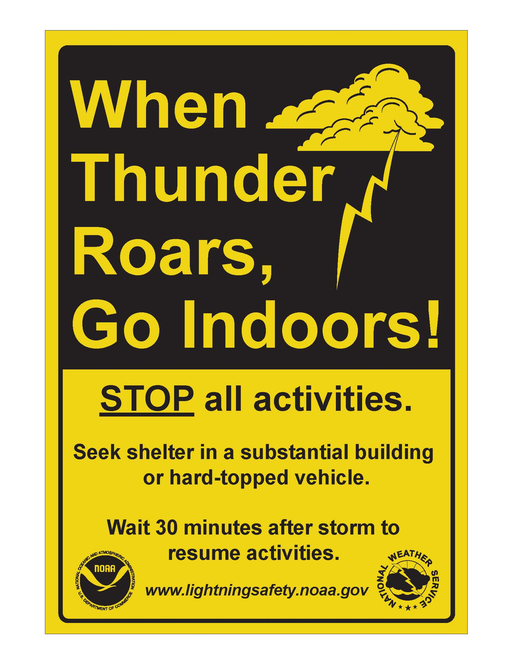 photo: NOAA via commons.wikimedia.org;desc: When thunderstorm is coming, find a safe indoor place to hide.;licence: cc;link: https://commons.wikimedia.org/wiki/File:Tall_lightning_sign.jpg;