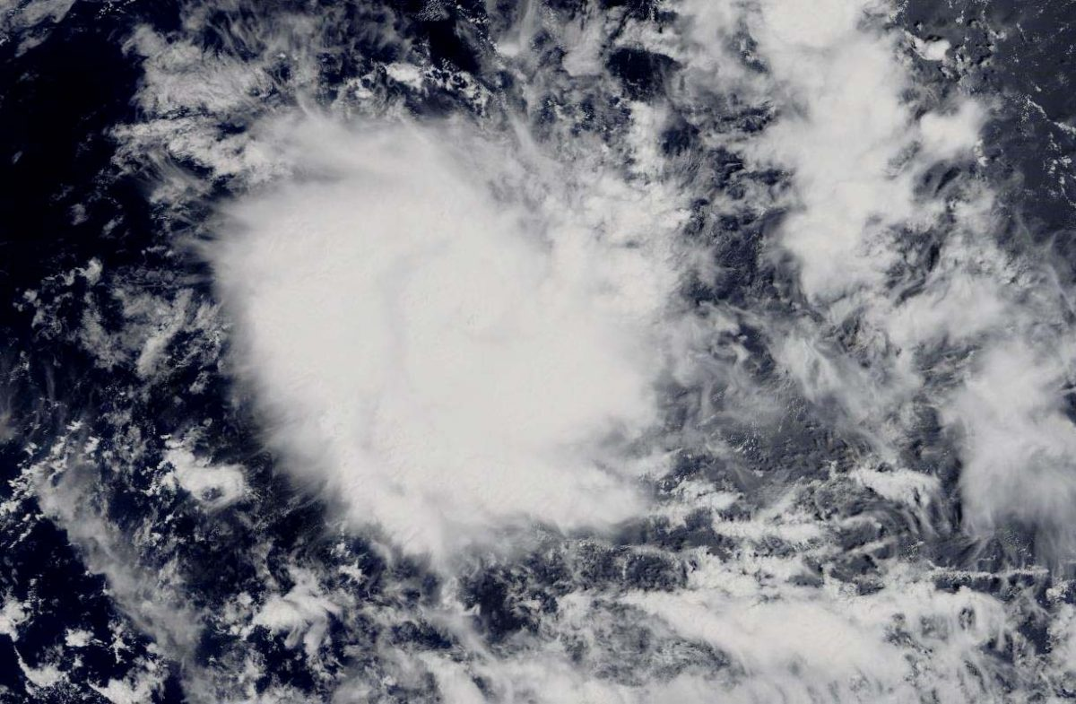photo:NASA Worldview;desc:On Dec. 6, 2019, the MODIS instrument that flies aboard NASA's Aqua satellite provided a visible image of Tropical Cyclone Ambali as it started weakening in the Southern Indian Ocean.