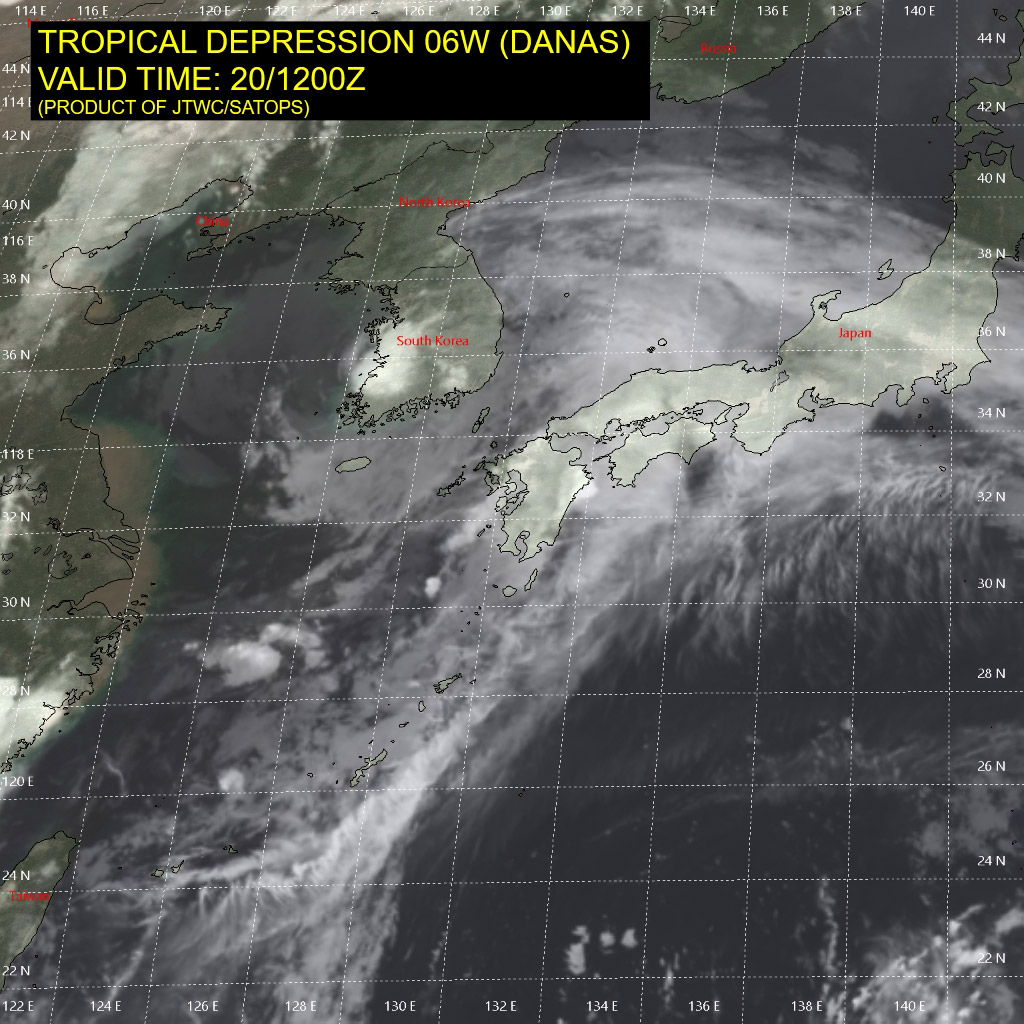 photo: JTWC/SATOPS; description: Tropical Storm Danas on 20 July 2019 at 12:00 a.m. UTC;