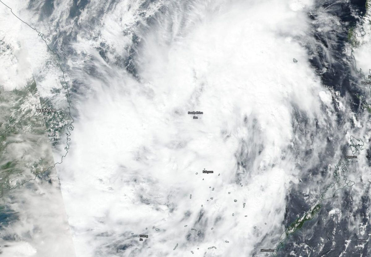 photo: NASA Worldview, Earth Observing System Data and Information System (EOSDIS);desc:NASA-NOAA's Suomi NPP satellite passed over Tropical Storm Matmo in the South China Sea on Oct. 30 as it was nearing the coast of southeastern central Vietnam.;